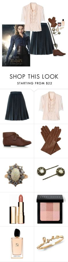 """""""Elizabeth Bennet (Pride and Prejudice and Zombies)"""" by daciejeanne ❤ liked on Polyvore featuring MSGM, Dents, Clarins, Bobbi Brown Cosmetics and Giorgio Armani"""