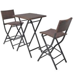 Rattan Patio Set High Bar Dinning Table Stools Chairs 3 Seater Folding Outdoor F