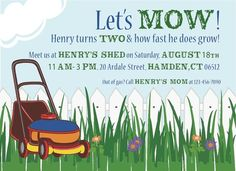 lawn mower birthday party | mower birthday