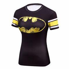 Female Casual T Shirt Superhero Women Superman/Captain America/Spiderman/Batman Shirts Bodybuilding Compression Tops Superhero Superman, Batman Shirt, Avengers Superheroes, Cheap T Shirts, Casual T Shirts, Gym Shirts, Collars For Women, T Shirts For Women, Captain America