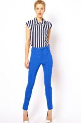 blue high waisted skinny pants with stripes