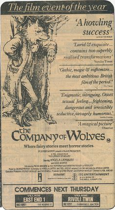 Advertisement from an Australian newspaper of Neil Jordan's 1984 film, The Company of Wolves.