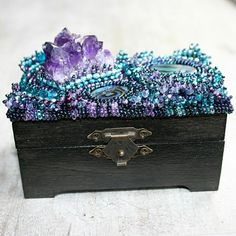 bead embroidered wooden box with amethyst and paua shells