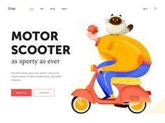 Motor Scooter by Uran on Dribbble Flat Design Illustration, Character Illustration, Digital Illustration, Business Illustration, Web Design, Header Design, Graphic Design, Scooter Design, Motor Scooters