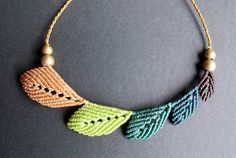 Micro Macrame Leaf Necklace