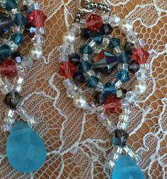 Woven Swarovski crystal bead earrings with pearls by TobysArtwear