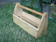 Hand Crafted Wood Tool Tote Wood Tool Box by MiscKDesigns on Etsy, $68.00