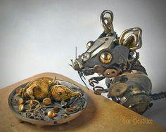 Clock parts. Steampunk mouse.