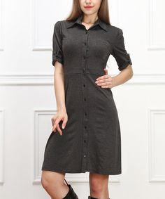 Charcoal Shirt Dress #zulily #zulilyfinds