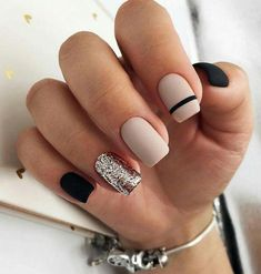 ATTRACTIVE NAIL ART INSPIRATION – Page 20 of 44 – yeslip Nails; Natural Nai… – Gel Nails Designs, You can collect images you discovered organize them, add your own ideas to your collections and share with other people. Rose Gold Nails, Matte Nails, Acrylic Nails, Coffin Nails, Dark Nails, Black Glitter Nails, Acrylic Board, Sparkle Nails, Sparkles Glitter