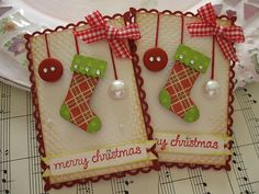Cute festive cards with rhinestones, buttons, ribbon and pearls.  By vsroses
