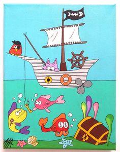 """Tableau Rigolo """"Chat Pirate"""" pour Chambre d'Enfant @ L'Art Ribouldingue 20 cm / 26 cm"""