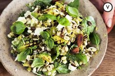 A delicious crunchy summer salad recipe, served with walnuts, curly pea shoots and gorgonzola, perfect for dining al fresco.