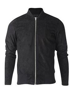FLATSEVEN Mens Zip up Faux Suede Classic Baseball Bomber Varsity Jacket (VSJ301) Black, M FLATSEVEN #mens fashion #menswear #denim #jackets #Varsity jackets