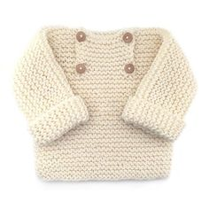 Jersey de bebé de punto bobo -Natural Baby - free pattern with lots of great images of creation process Baby Sweater Patterns, Baby Cardigan Knitting Pattern, Knitted Baby Cardigan, Knit Baby Sweaters, Knit Baby Booties, Romper Pattern, Easy Knitting Patterns, Knitting For Kids, Baby Patterns