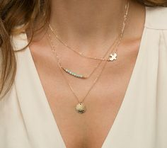 Short Gemstone Bar Necklaces Dainty 14k Gold by LayeredAndLong