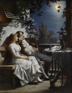 Carl Schweninger Jr (1854 – 1903) - Couple in the Moonlight