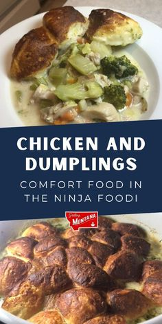 Need some delicious comfort food ideas? Check out these delicious chicken and dumplings in the Ninja Foodi for a grilled comfort food recipe now #chicken #chickenrecipes #grilledchicken #dumplings #comfortfood #comfortfoodrecipes