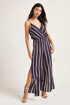 A woven jumpsuit featuring an allover striped print, a surplice neckline, adjustable cami straps, a self-tie elasticized waist, and a split wide leg cut.<p>- This is an independent brand and not a Forever 21 branded item.</p>
