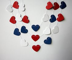 Nautical party decor, Heart garland, Nursery decor, red blue & white heart garland, Paper garland,Children's birthday decoration,Baby shower