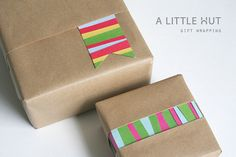 Some simple gift wrapping ideas for using up scrap paper!