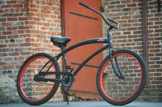 SKULL X BONES Men\'s Beach Cruiser Bike - Flat Black / Red