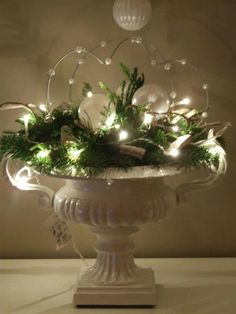 # MazzWonen # Inspiration # Deco # Christmas # Christmas # Christmas Tree # Christmas Decoration # DIY # Christmas # Three # Home # Living Room Christmas Planters, Christmas Arrangements, Christmas Flowers, Noel Christmas, Christmas Centerpieces, Green Christmas, Xmas Decorations, Christmas Projects, Winter Christmas
