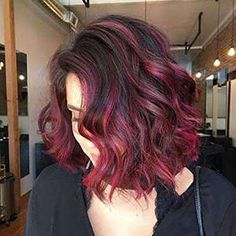 Bob Wigs Human Hair Black Color Fading to Multicolor Curly Human Wigs-UgeatHair Ombre Hair With Highlights, Brown Ombre Hair, Ombre Hair Color, Black And Red Ombre, Dark Red Balayage, Ombre Bob, Short Ombre, Pelo Color Vino, Bob Hairstyles