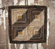 Primitive Hand Hooked Rug LOG CABIN QUILT Design on Etsy, $150.00