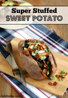 Super Stuffed Sweet Potatoes overflowing with hearty stuffing ingredients that make this a meal on its own! #vegan #sugarfree #glutenfree #grainfree #dairyfree #eggfree #soyfree @rickiheller