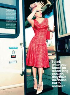 red dress by Vivienne Westwood - Red Label | pumps by Monika Chiang | P!nk for Glamour June 2013