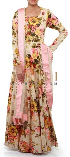 Buy Online from the link below. We ship worldwide (Free Shipping over US$100). Product SKU - 302274. Product Link - http://www.kalkifashion.com/cream-anarkali-suit-adorn-in-rose-motif-print-only-on-kalki-17997.html