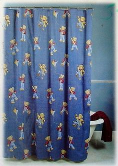 Vintage Teddy Bear In Denim Overalls Fabric Shower Curtain Boys Bathroom Euc - Shower Curtains