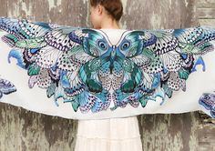 Women scarf, Hand painted Butterflies in Blue Aqua tones, stunning unique and useful, perfect gift Shovava
