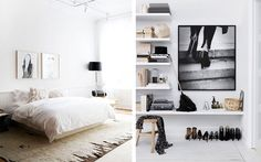 Maybe a black lamp with our white walls?  And I always love random beige things on white. :)