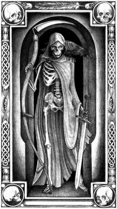 Death: One of the few things time can never truly heal. Grim Reaper Art, Don't Fear The Reaper, Memento Mori, Angel Of Death Tattoo, Tarot Death, Tarot Tattoo, Dance Of Death, Kiss Of Death, Reaper Tattoo