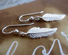 Sterling Silver Feather Earrings / Bohemian by VerseJewelry, $35.00