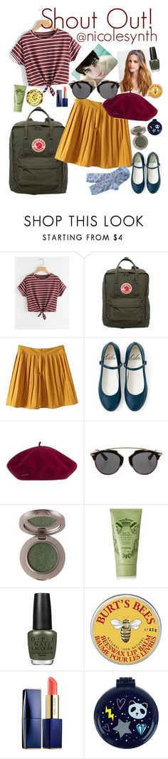 """""""SHOUT OUT! @nicolesynth"""" by elliewriter ❤ liked on Polyvore featuring Fjällräven, GET LOST, Christian Dior, Sisley, OPI, Burt's Bees, Swissco, Sephora Collection, Accessorize and J.Crew"""