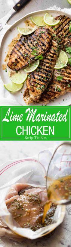 Lime marinated chicken - Lovely depth of flavour in this simple marinade that REALLY infuses the chicken with lime flavours! Lime Marinade For Chicken, Marinated Grilled Chicken, Chicken Marinades, Lime Chicken, Chicken Meals, Keto Chicken, Grilling Recipes, Cooking Recipes, Healthy Recipes