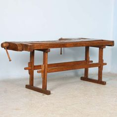 View this item and discover similar  for sale at 1stdibs - This rustic carpenter's workbench has 2 vices which add to the intriguing look and character of the piece. Workbenches such as this are often used as sofa Small Console Tables, Sofa Tables, Dining Bench, Table Furniture, Home Furniture, Outdoor Furniture, Outdoor Decor, Drum Table, Round Side Table