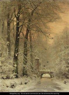 A Snowy Landscape At Sunset - Louis Apol