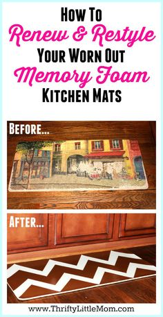 Renew and Restyle your Memory Foam Kitchen Mat. If you've got a memory foam mat in your kitchen that you love, but has seen better days, you can paint it and make it new again!