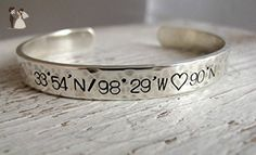 Men's Cuff Bracelet, Latitude Longitude, Sterling Silver, Hand Stamped, Personalized, Gift for Him - Wedding bracelets (*Amazon Partner-Link)