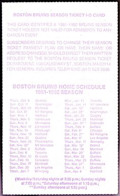 1981-82 BOSTON BRUINS SEASON TICKET ID CARD SCHEDULE EXEX+ CONDITION FREE SHIP #Pocket #SCHEDULE