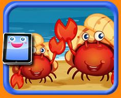 25 Piece Online jigsaw puzzle for kids - Two Cartoon Crabs on a Beach