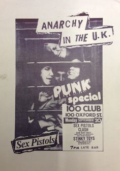 Sex Pistols, Clash, Subway Sect, Siouxsie & The Banshees, Stinky Toys @ 100 Club 1976