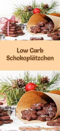 Low Carb Chocolate Cookies - Easy Recipe for Christmas Cookies .- Low carb Christmas biscuit recipe for chocolate biscuits: low carbohydrate, low calorie Christmas biscuits – baked without cereal flour and sugar … # baking - Chocolate Biscuits, Chocolate Cookies, Paleo Dessert, Low Carb Chocolate, Chocolate Recipes, Chocolate Chocolate, Christmas Biscuits, Christmas Cookies, Chips