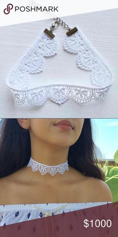White Lace Venice Choker Super cute and sexy white lace choker. Great addition to ANY outfit. Adjustable length 11-14 inches. FREE gift with any boutique purchase! Bundles of 2 or more get 15% off! Great Christmas present, birthday gift, or just for YOU! Jewelry Necklaces