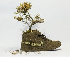 christophe guinet crafts living NIKE sneakers from flowers