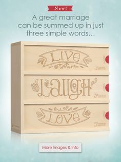 Live Laugh Love Anniversary Wine Box from Wine For A Wedding is a distinctive gift of wine in a wood box to celebrate your first, third and fifth wedding anniversary. Wedding Boxes, Wedding Dj, Wedding Ceremony, Gift Wedding, Wedding Ideas, Church Wedding, Outdoor Ceremony, Wedding Stuff, Wedding Inspiration